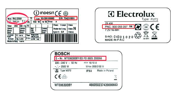 Tabliczki znamionowe AGD Electrolux Indesit Bosch Whirlpool